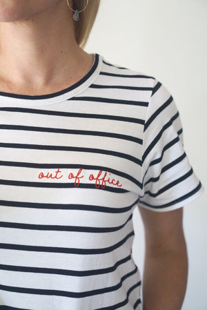 Embroidered cotton Out of Office tee t-shirt