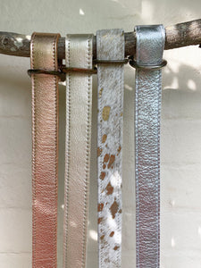 Handmade metallic leather belts
