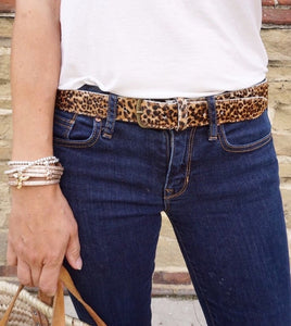 Leather belts in jaguar print