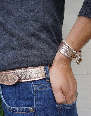 Handmade rose gold metallic leather belt