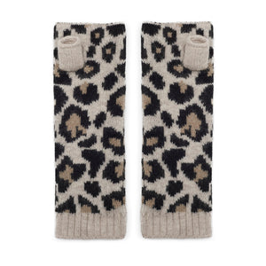 Leopard print cashmere wrist warmers in classic or pink/grey