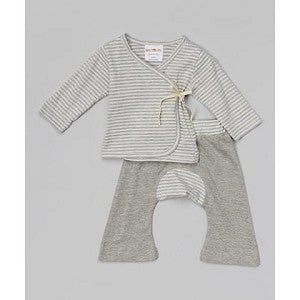 SCKOON ORGANIC COTTON BABY LAYETTE KIMONO AND PANTS SET SERENITY STRIPES