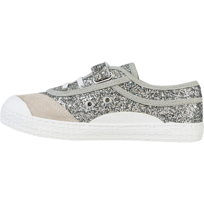 KAWASAKI Glitter Kids Shoe W/Elastic Shoes 8889 silver