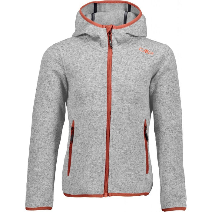 CMP Girl Jacket Fix Hood Fleece 58BH Argento-Bianco