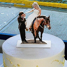 Load image into Gallery viewer, Photo sculpture of bride and groom cake topper on a wedding cake.  Great for table decorations too!