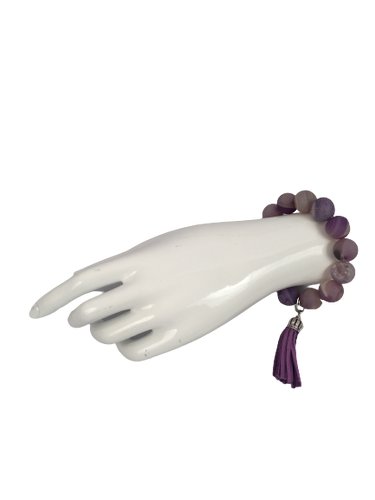 Light Purple and Grey Stone Bracelet with Tassel