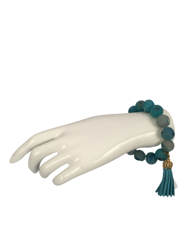 Aquamarine Stone Bracelet with Tassel
