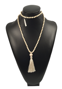 Cream Stone Necklace with Tassel