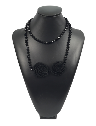 Black Crystal Necklace with Roses