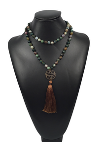 Multicolored Stone Necklace with Tassel and Pendant
