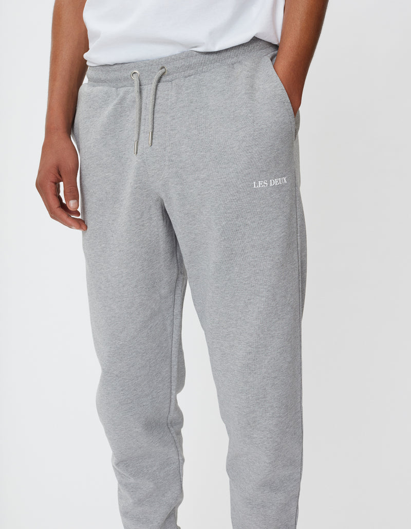 Les Deux MEN Lens Sweat pants Pants 310201-Light Grey Melange/White