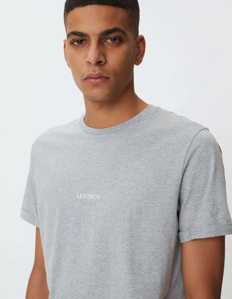 Les Deux MEN Lens T-Shirt T-Shirt 310201-Light Grey Melange/White