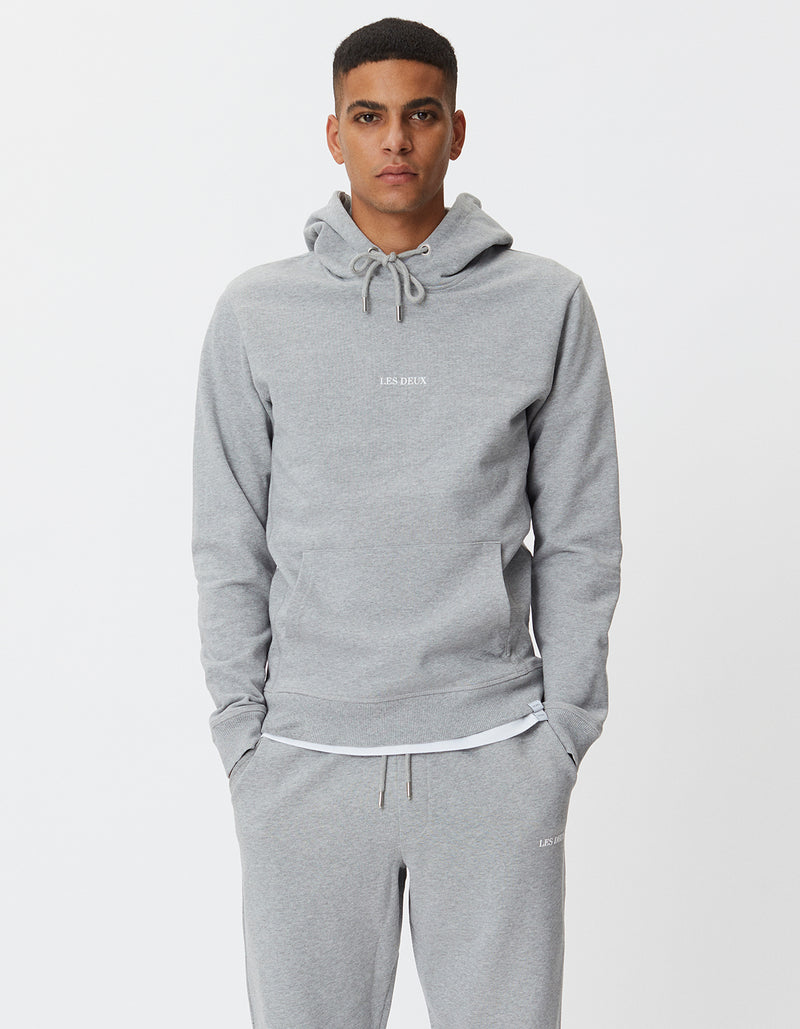 Les Deux MEN Lens Hoodie Hoodie 310201-Light Grey Melange/White