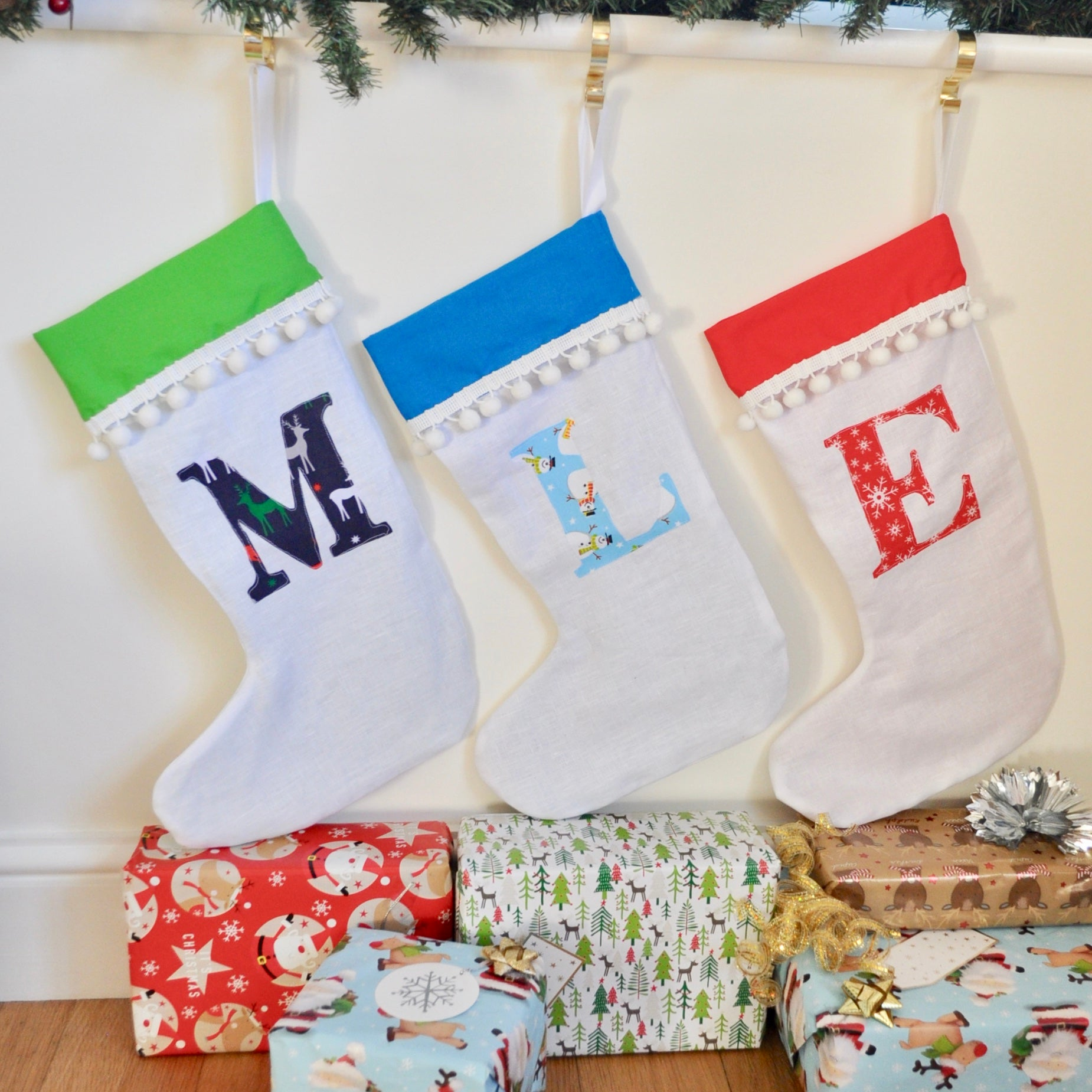 Personalised Inital Christmas Stocking – Livi and Belle