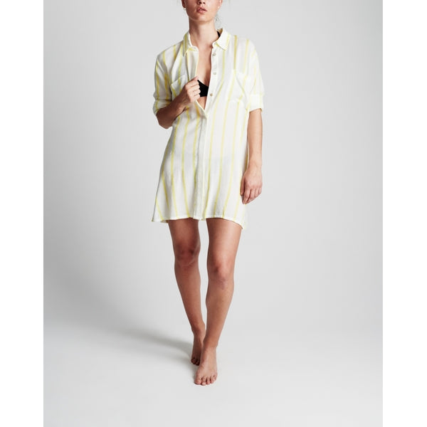 lulu's drawer Ida long shirt Loungewear Off white/Lemon stripe