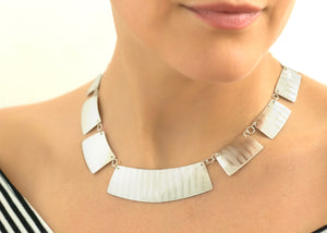 Deconstructed Sterling Silver Pinstripe Collar Necklace