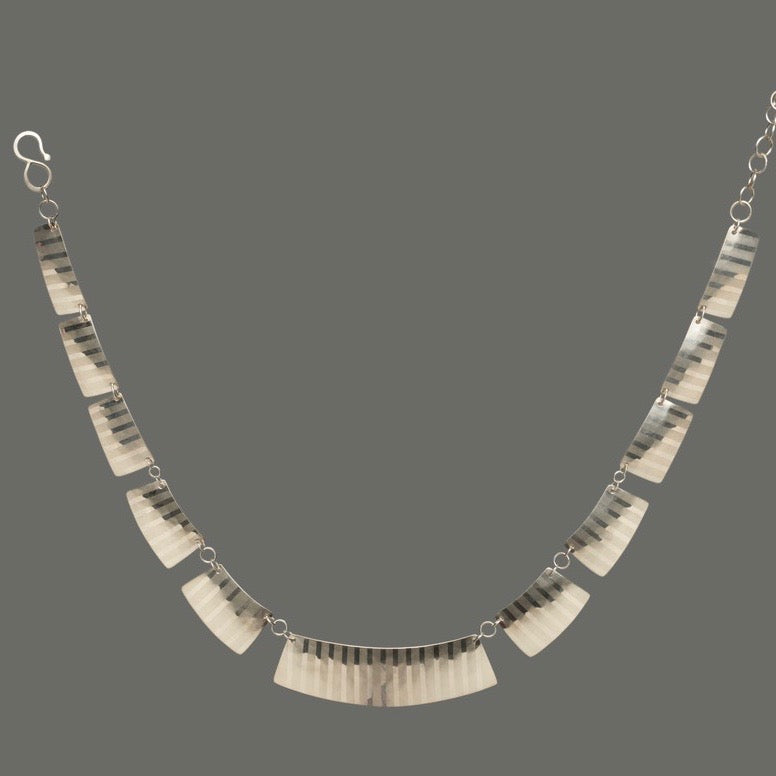 Deconstructed Pinstripe Collar Sterling Silver Necklace