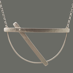 Sterling Silver Necklace / Hammered Riveted Slide, artisan jewelry, handmade silver jewelry