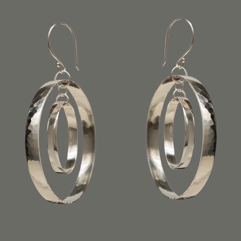 Dual Hammered Hoops /Sterling Silver Earrings