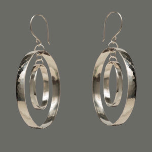 Dual Hoop Hammered Sterling Silver Earrings, artisan jewelry, Handmade silver jewelry
