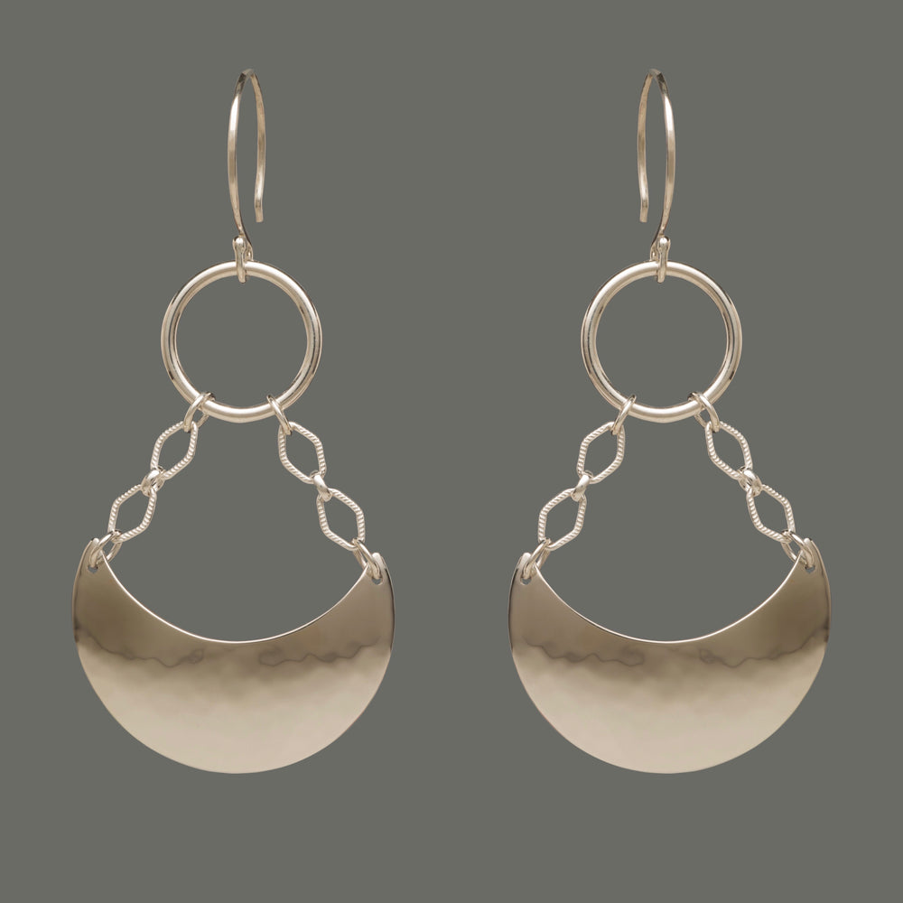 Crescent Hammered Chandelier Sterling Silver Earrings