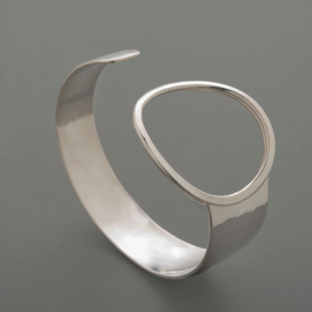 Hammered Asymmetric Ring Sterling Silver Cuff Bracelet