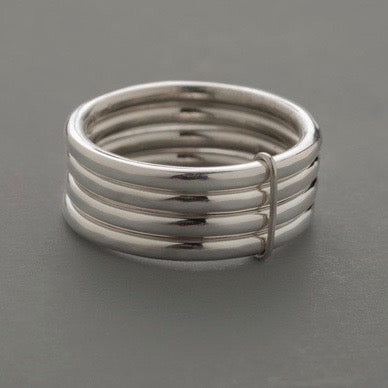 Hammered 4 Ring Stack Sterling Silver Ring