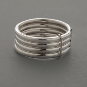 4 Ring Hammered Stack Sterling Silver