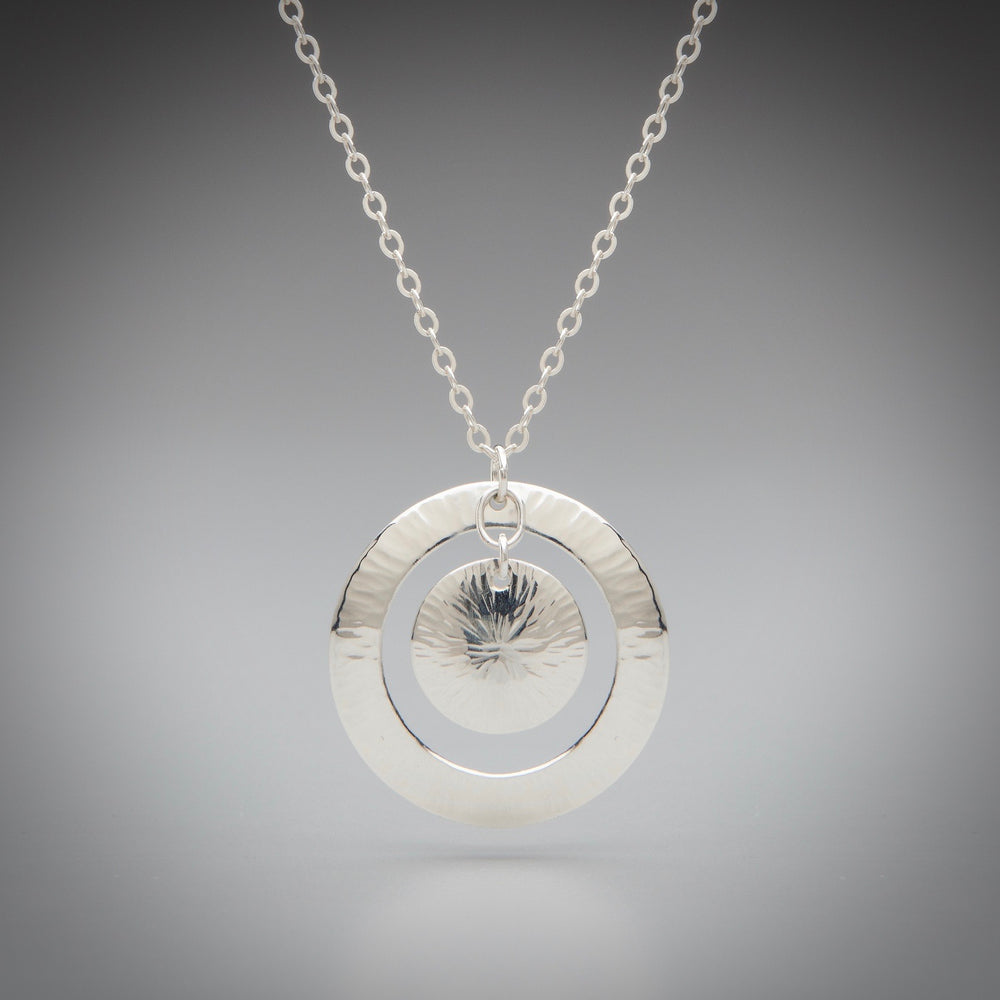 Illuminate Sunburst Sterling Silver Necklace, artisan sterling silver necklace