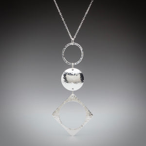 Illuminate Triple Sunburst Sterling Silver Necklace, artisan sterling silver necklace