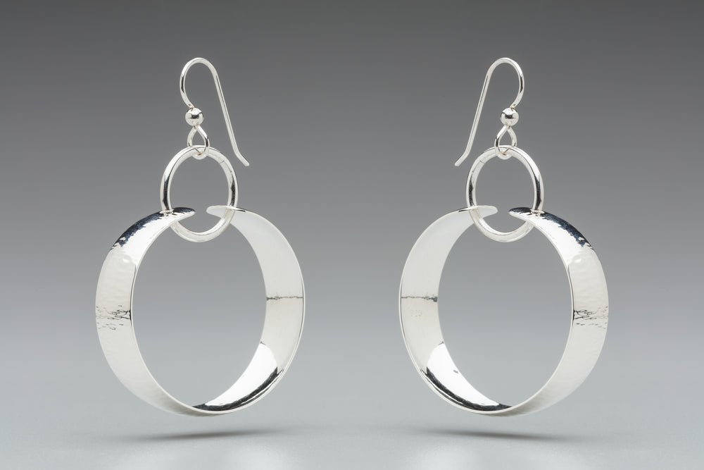 Illuminate Ring/Hoop Sterling Silver Earrings, artisan sterling silver earrings