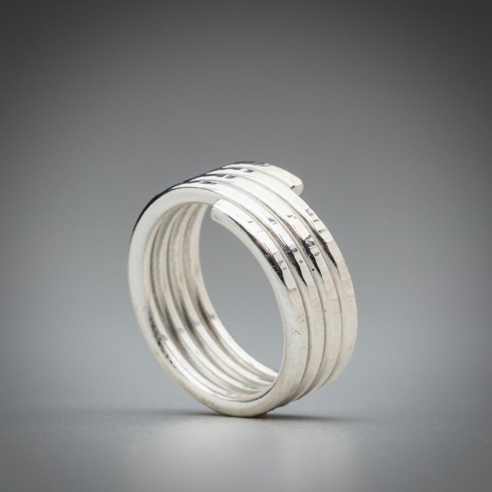 Illuminate Spring Fused Argentium Sterling Silver Ring, artisan sterling silver ring