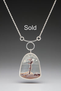 handmade artisan sterling silver / Sonoran Dendritic Rhyolite necklace, natures artwork, one of a kind