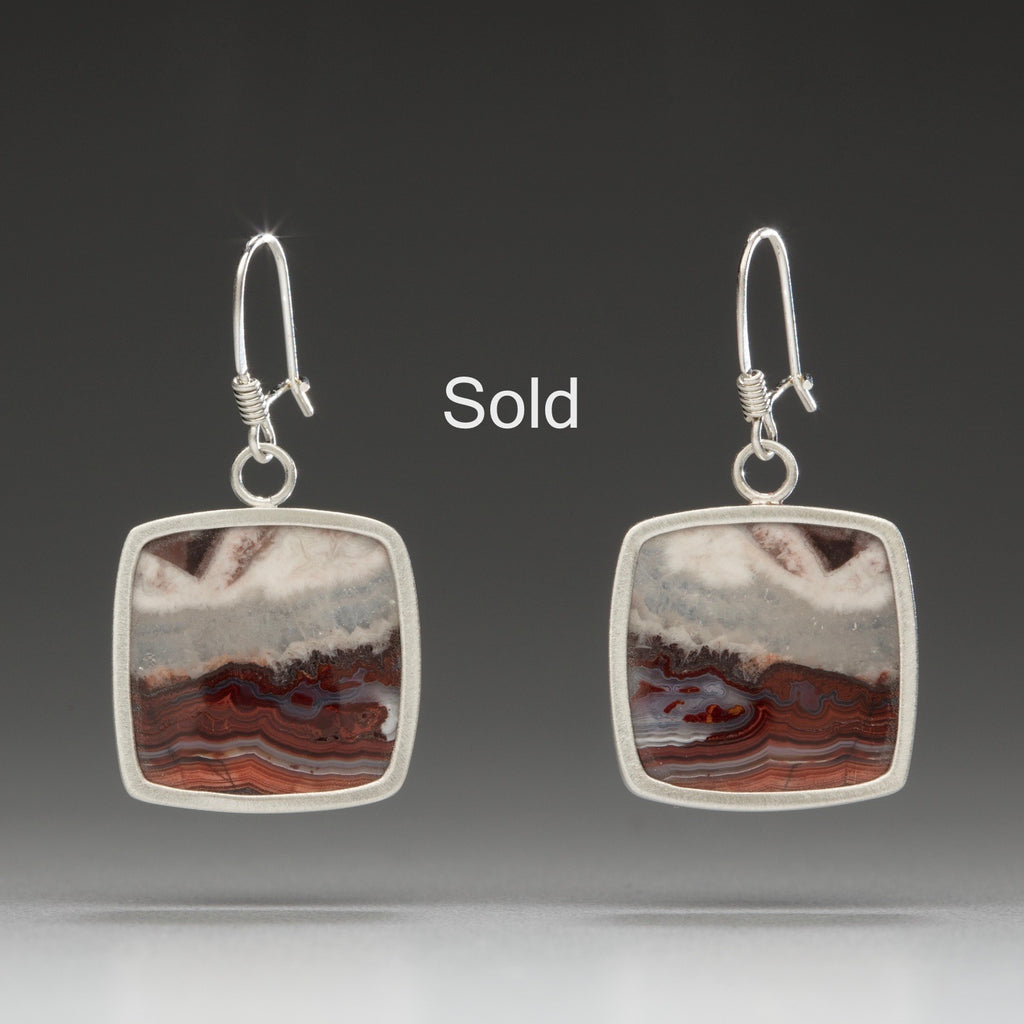 sterling silver / crazy lace agate earrings, nature's artwork, handmade artisan jewelry