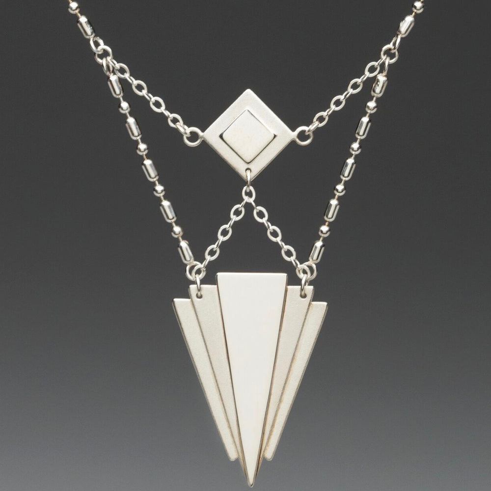 Artisan Art Deco Sterling Silver Necklace