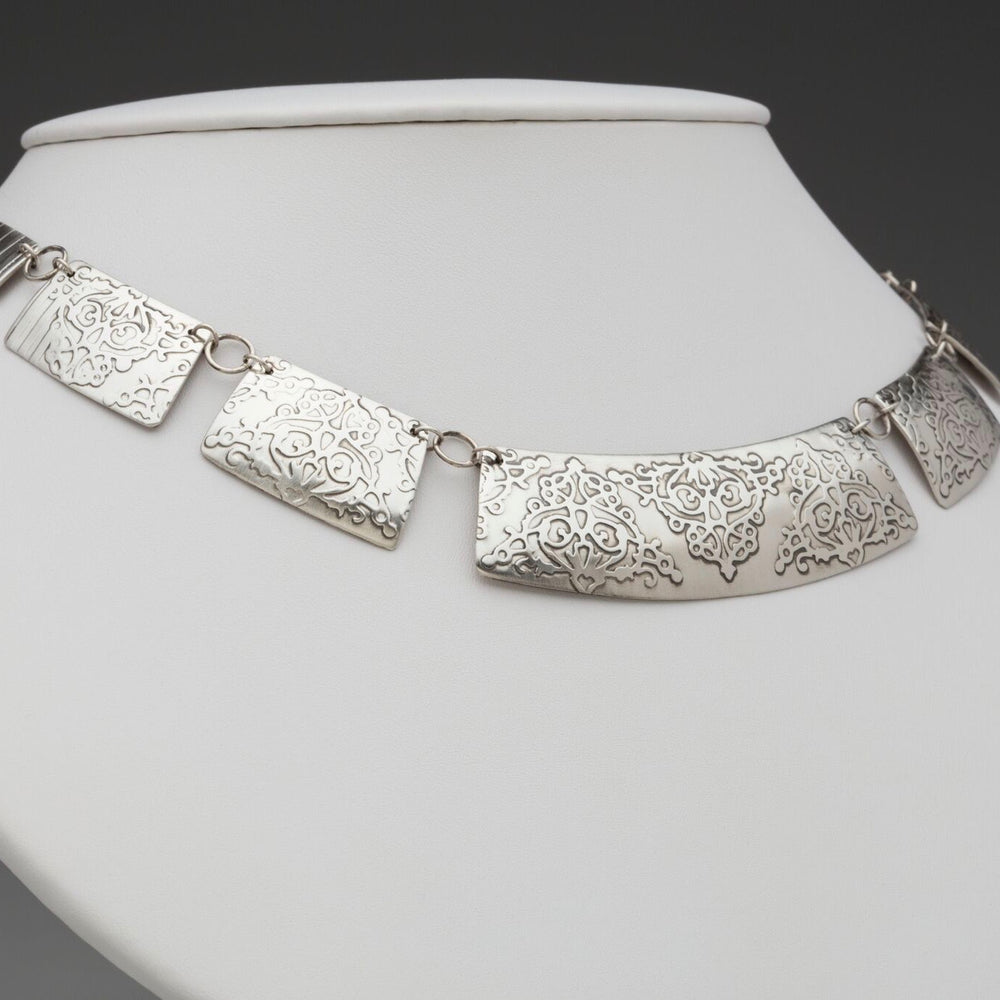 Fierce Deconstructed Collar Sterling Silver Necklace