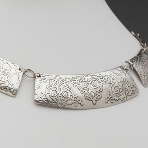 Sterling Silver Necklace / Fierce Deconstructed Collar, artisan jewelry, handmade silver jewelry