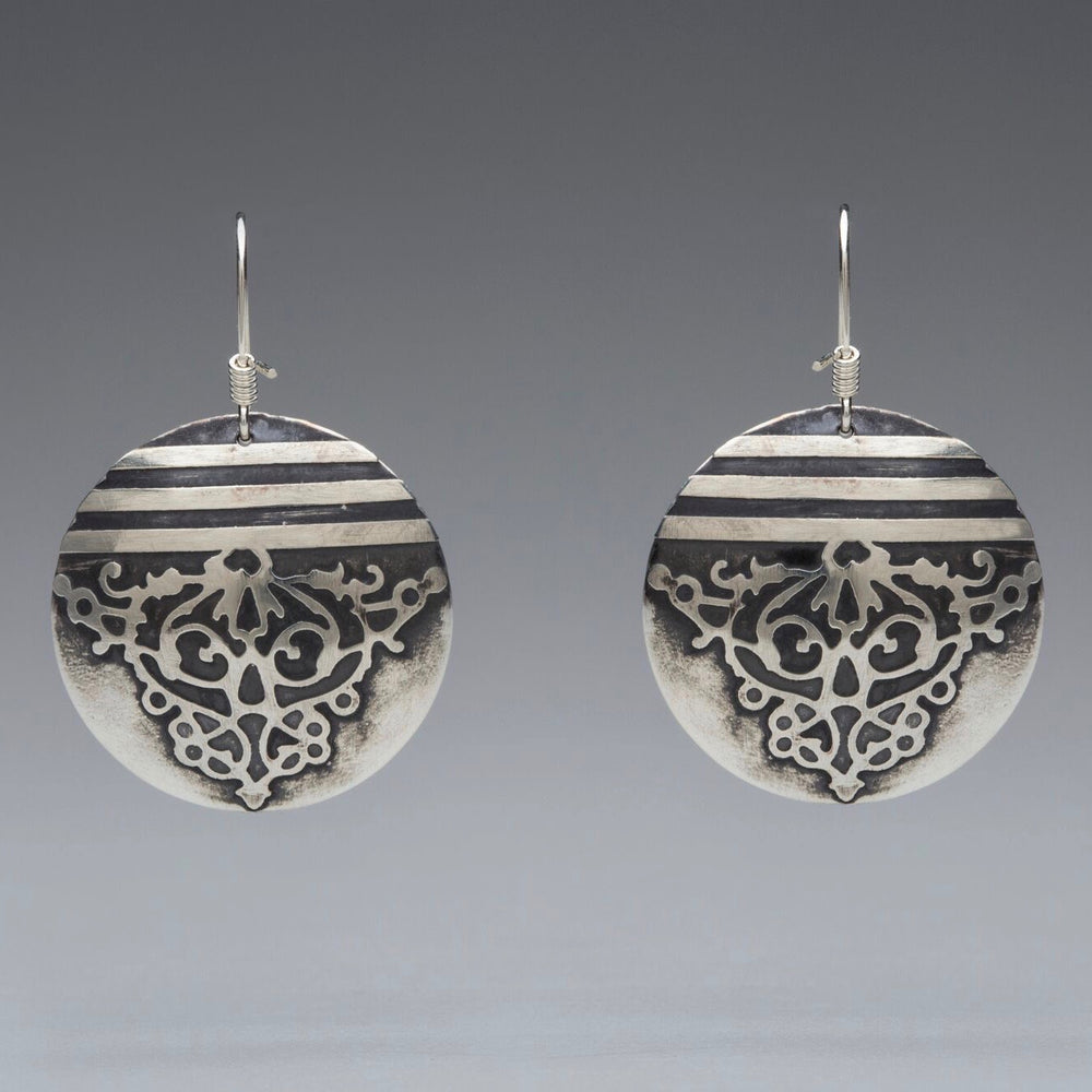 Fierce Disc Lg Sterling Silver Earrings
