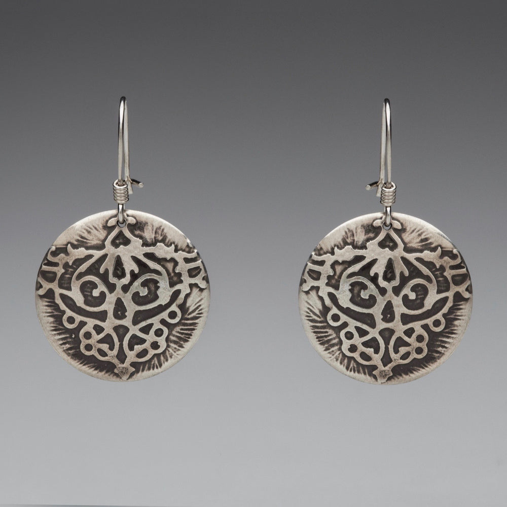 Fierce Disc Sterling Silver Earrings, artisan jewelry, handmade silver jewelry