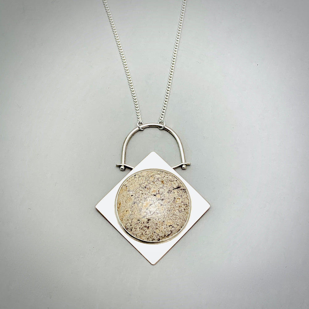 Plume Agate Sterling Silver Pendant Necklace