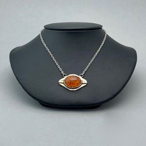 amber eye sterling silver necklace