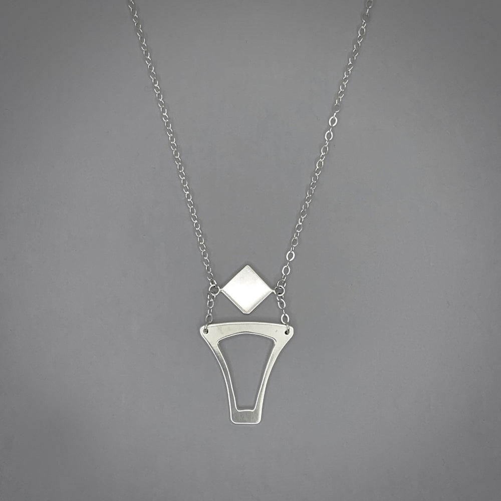 Deco Cut Out Sterling Silver Necklace
