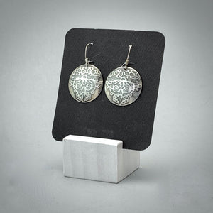 Fierce / Vine Sterling Silver Disc Earrings