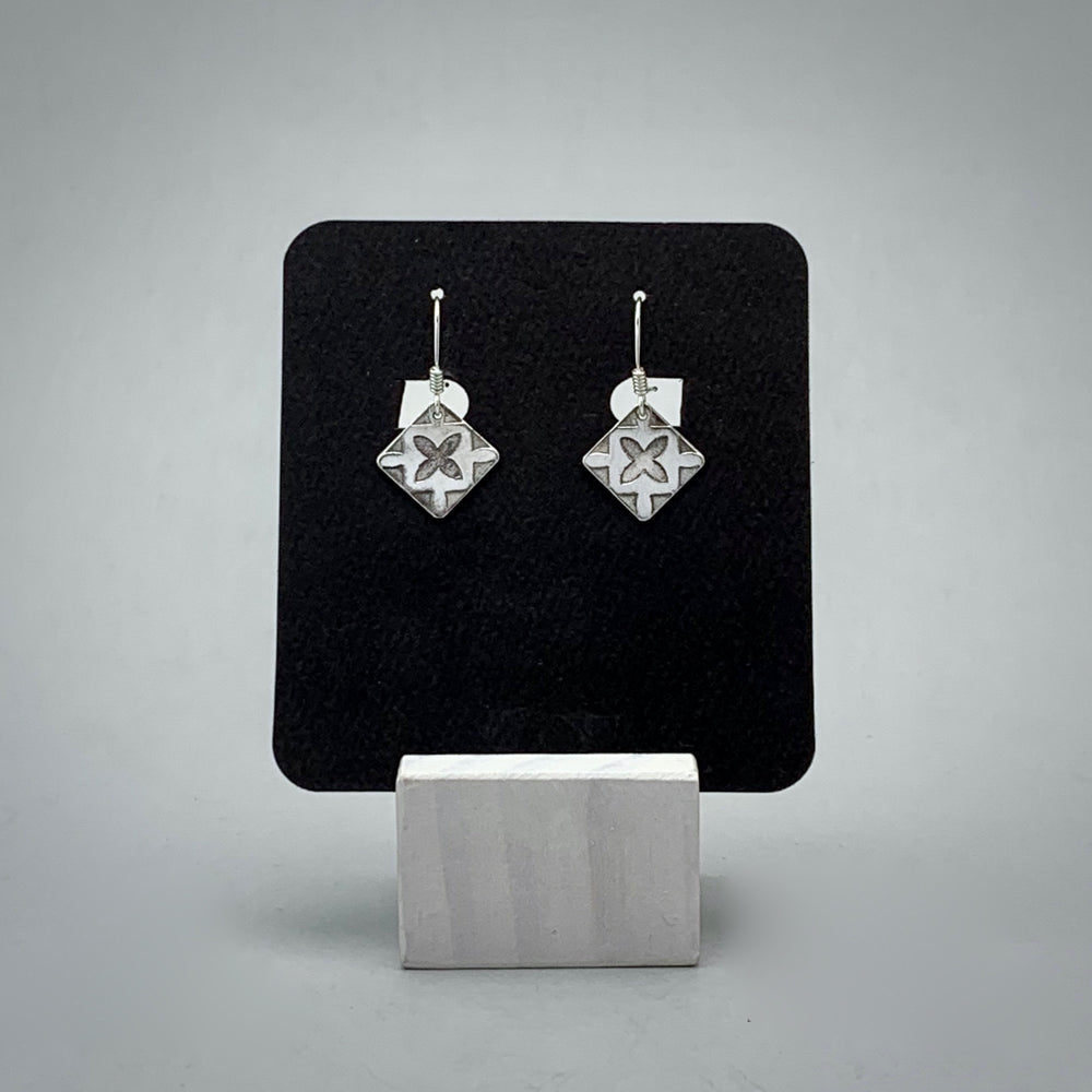 Geometric Flower Sterling Silver Earrings