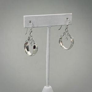 Hammered Chandelier Hoop w Chain Sterling Silver Earrings