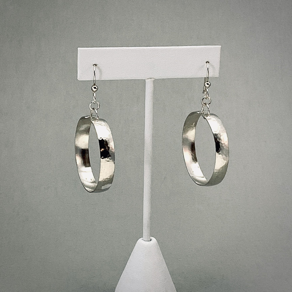 Hammered  Sterling Silver Dangle Hoop Earrings