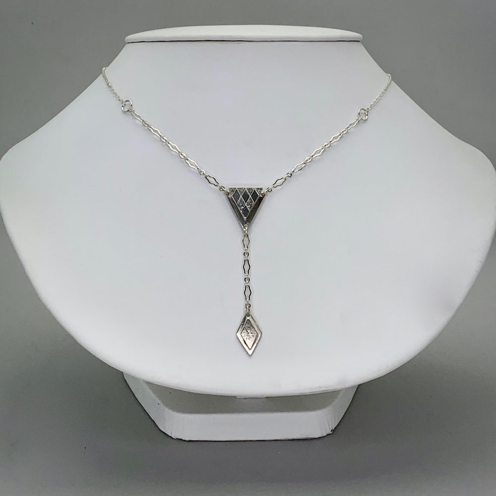Harlequin Drop Sterling Silver Lariat Necklace