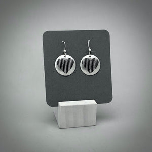 Heart Etched Sterling Silver Earrings 2