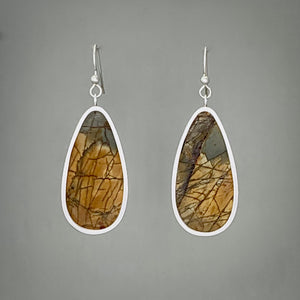 Red Creek Jasper Drop Sterling Silver Earrings
