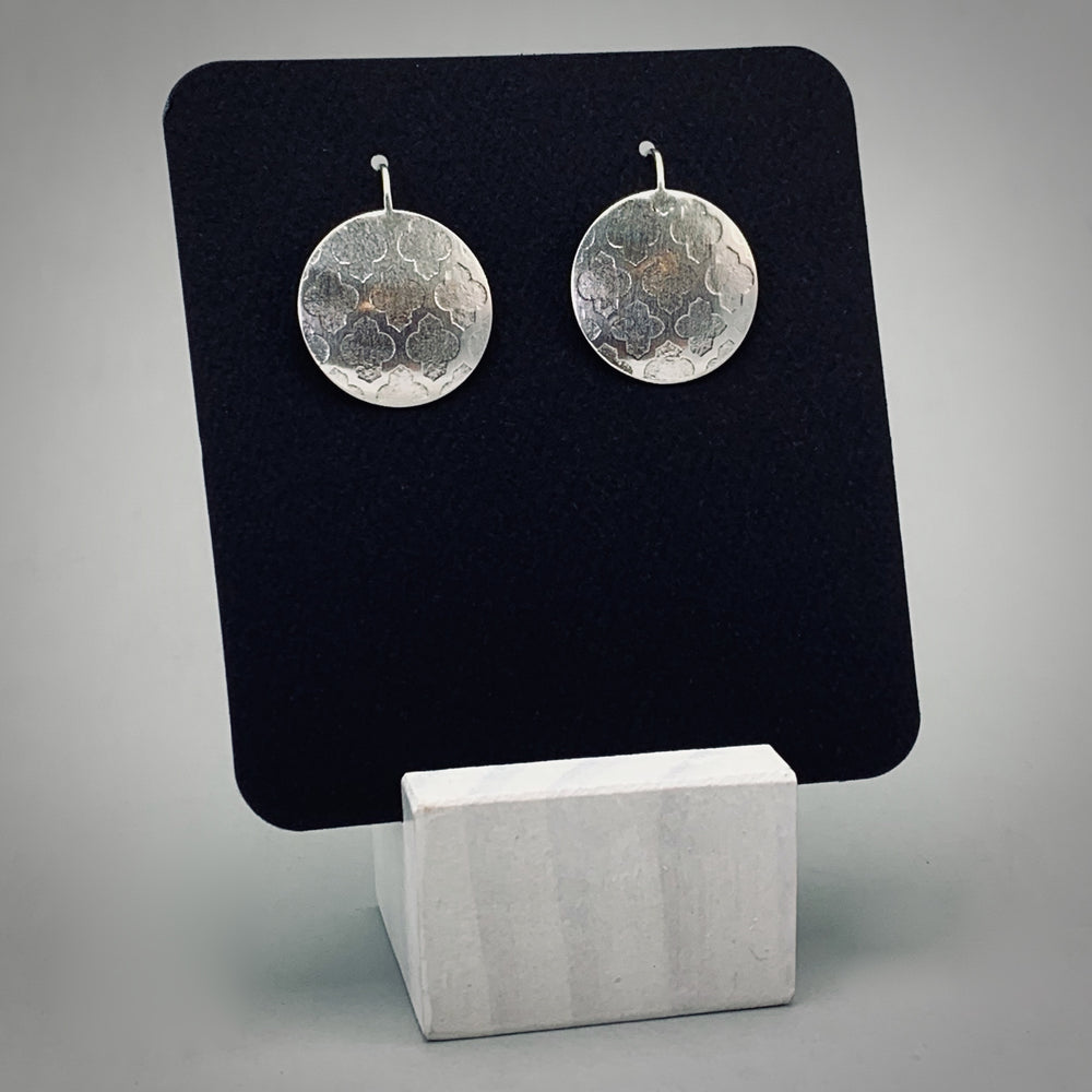 Trellis Disc Sterling Silver Earrings